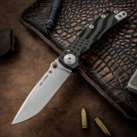 Нож складной Spartan Harsey Folder, Stonewashed Crucible CPM® S35VN™ Blade, Black PVD-Coating Titanium Handles with USA Flag Engraved, Bronze Anodized Hardware 10.0 см.